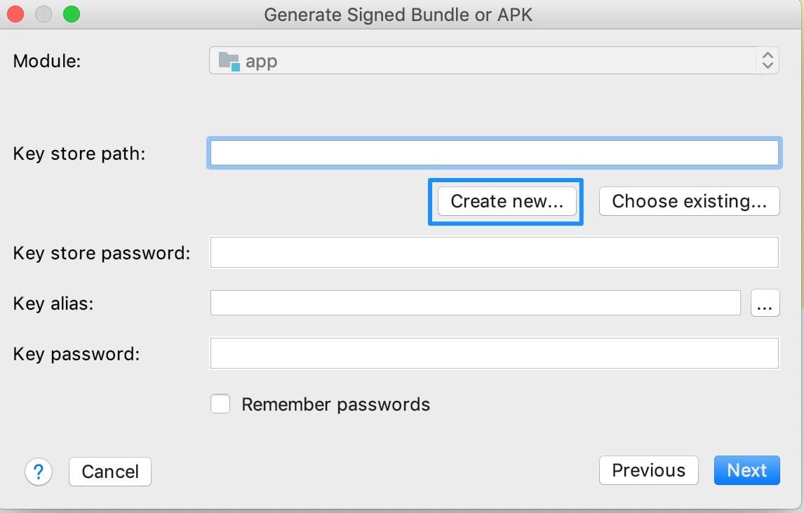 Android Studioで公開用apk署名用のキーストアを作成する方法