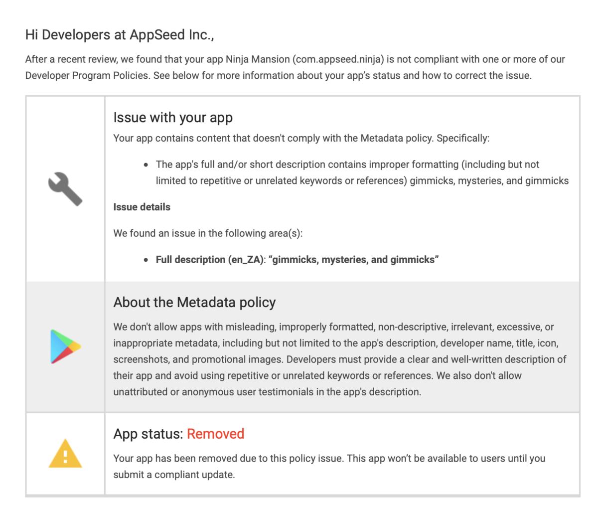 Google Playストアはアプリ説明文のポリシー違反だけでも即ストアから削除されるようになったっぽい