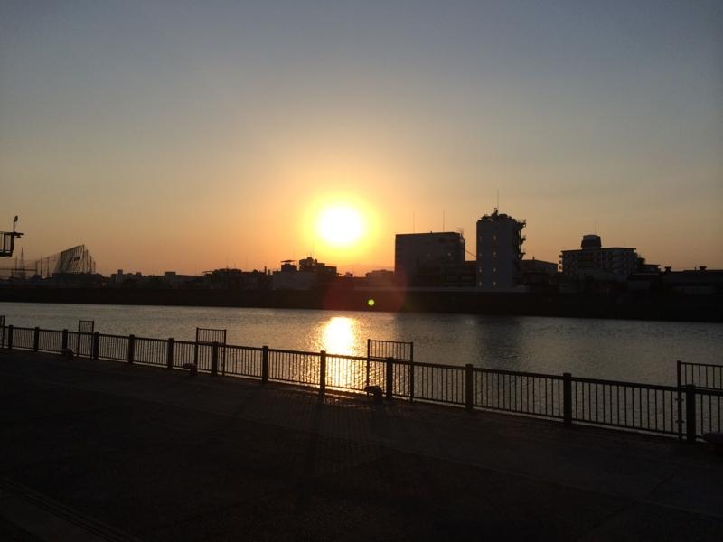 神崎川の夕陽