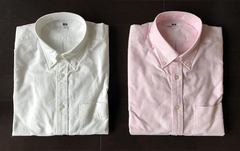 白とピンクのオックスフォードボタンダウン