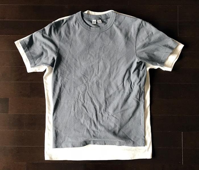 ユニクロユーのクルーネックTシャツ SとMサイズの比較