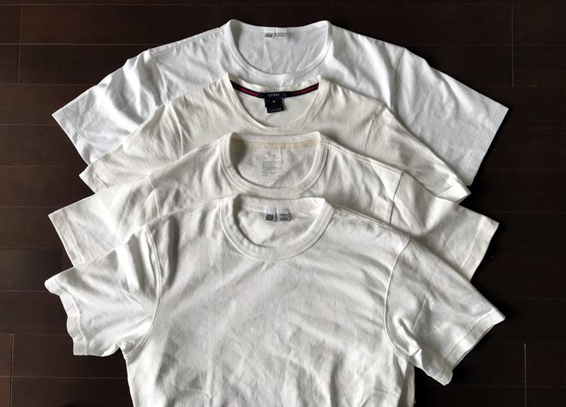 ユニクロと無印良品白Tシャツのシルエットを比較4