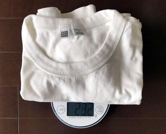 ユニクロユーと無印良品白Tシャツの重量の分析4