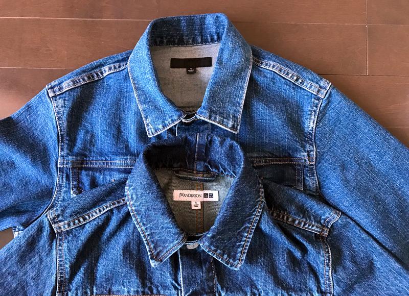 ユニクロとJWアンダーソンのデニムジャケットの比較 襟のデザイン