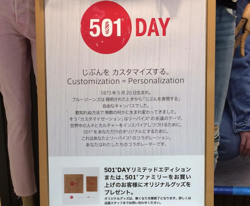 リーバイスショップの501DAY店頭ポップ