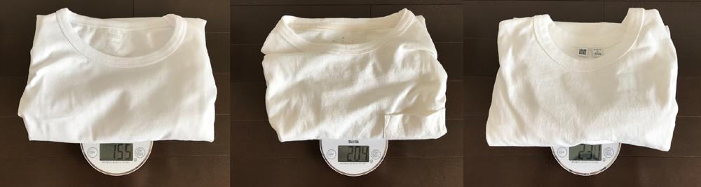 ZOZOと無印良品とユニクロの白Tシャツ重量比較