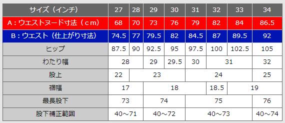 スリムフィットダメージジーンズ サイズ表