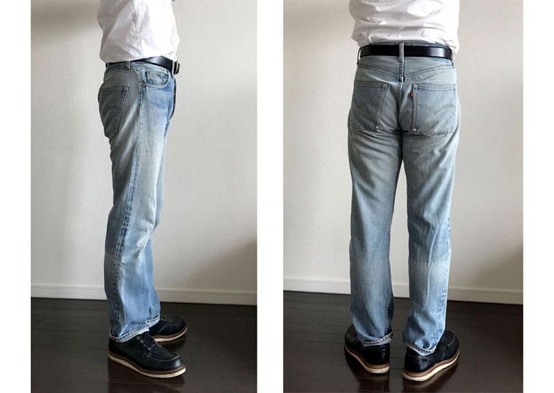 オープンカラーシャツ長袖のコーデ基本型 パンツインするパターン ベルトあり