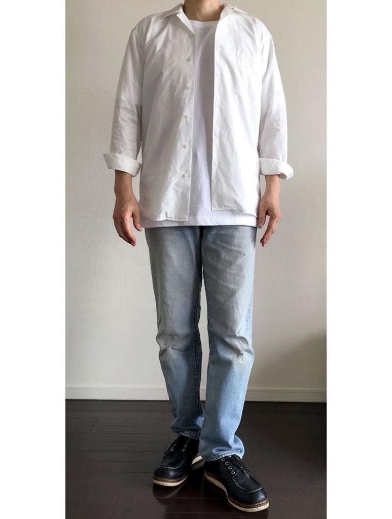オープンカラーシャツ長袖のコーデ基本型 世間的ニュアンスによる調整スタイリング