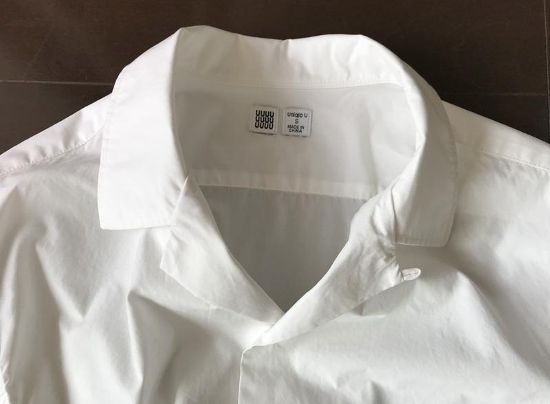 ユニクロユー オープンカラーシャツ長袖 襟まわり