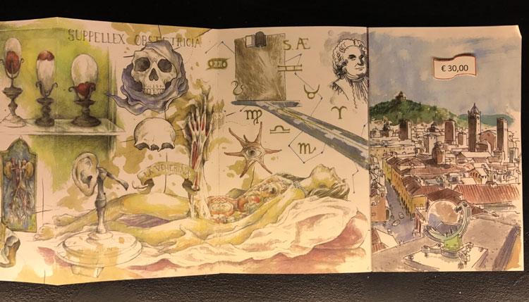 ボローニャ大学 絵巻的なイラストカード
