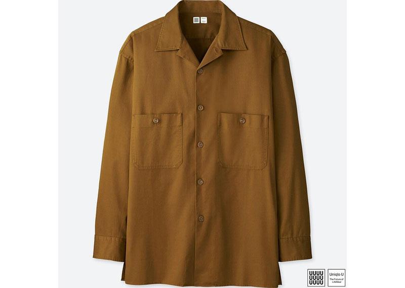 テロリ感のあるオープンカラー長袖