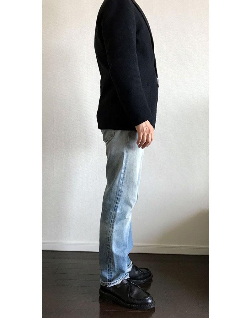 ユニクロユー ウールブレンドジャケット紺(2B)