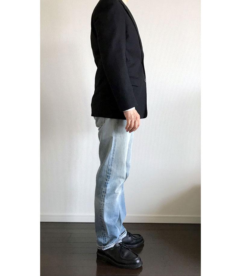 ユニクロユー ウールブレンドジャケット黒(3B)