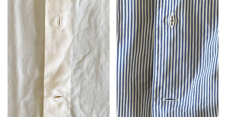 イタリアのシャツ 一番下は水平にボタンホール