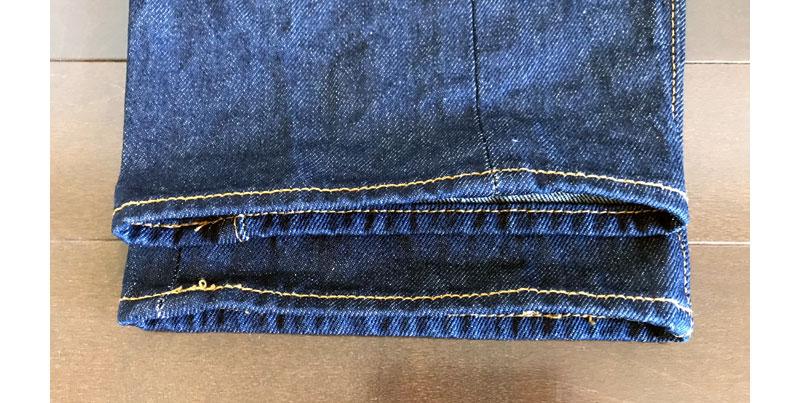 裾の部分だけ糊を落としてパッカリングをつける