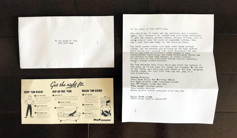 リーバイスからLVCオーナーへの手紙