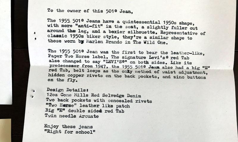 LVC501の1955モデルリジッド 手紙