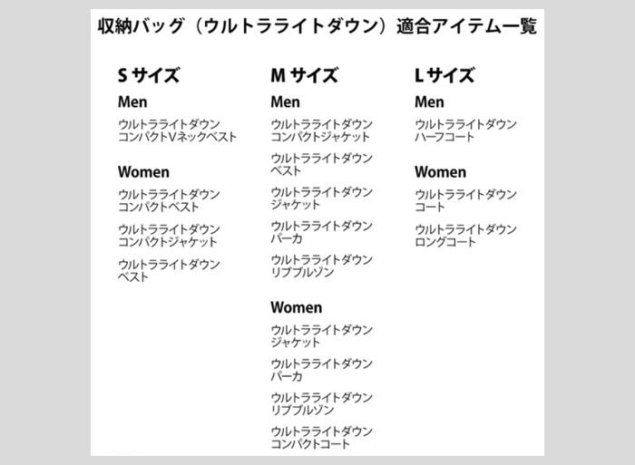 ユニクロ|収納バッグ(ウルトラライトダウン)ポーチ袋 適合表