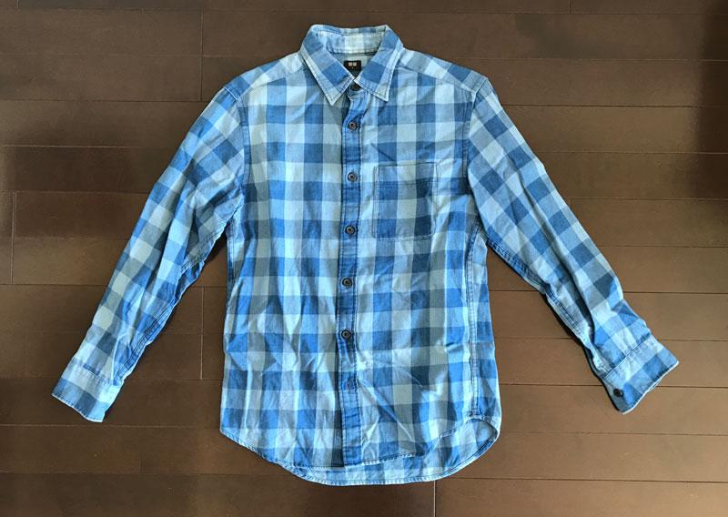ユニクロのフランネルシャツ1のインディゴ染 ビフォー