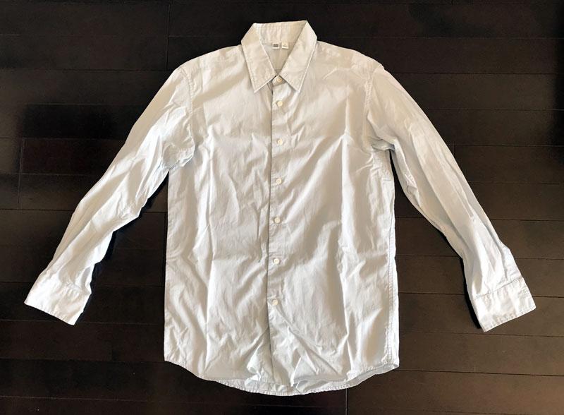 ユニクロユーのブロードシャツ1のインディゴ染 ビフォー