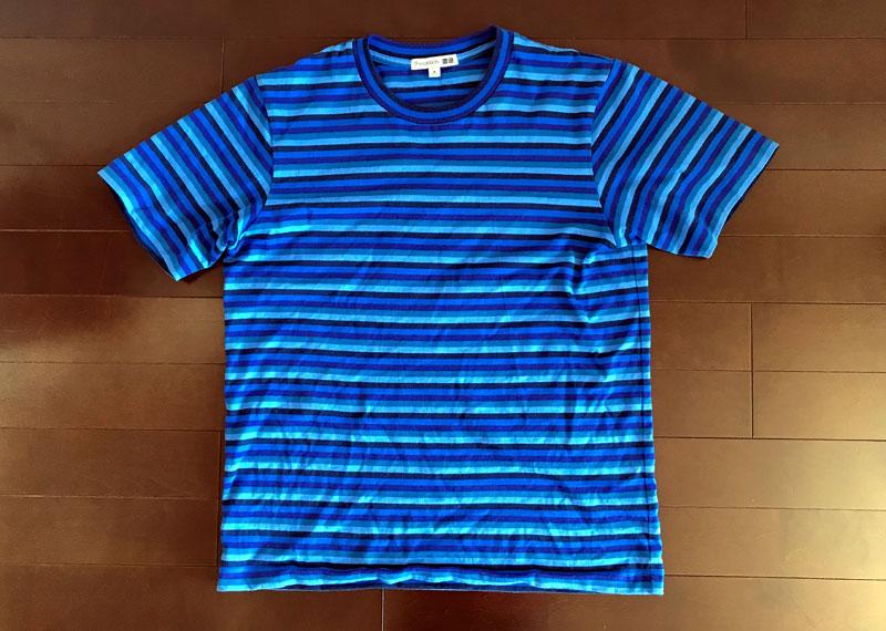 JWアンダーソンのボーダーTシャツのインディゴ染 ビフォー
