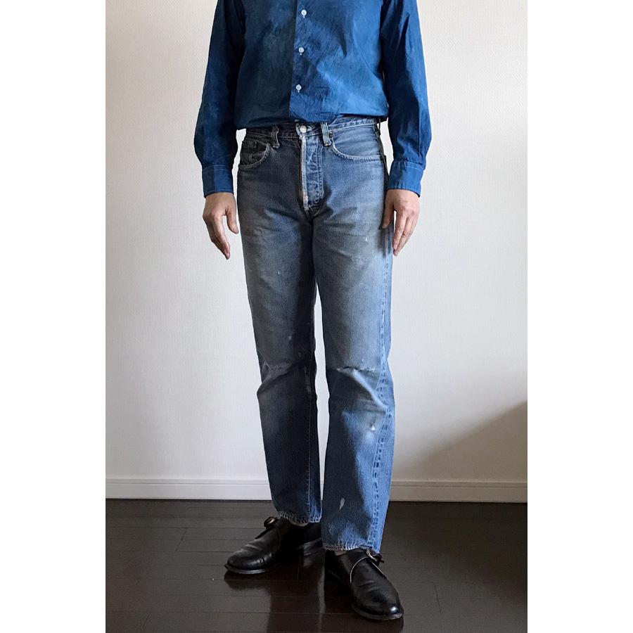 ユニクロユーのブロードシャツ1のインディゴ染
