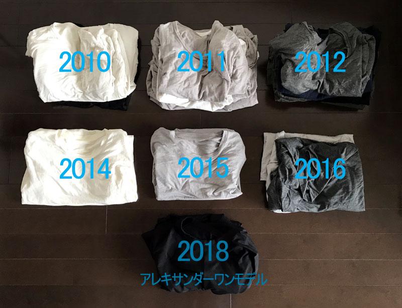 ヒートテックを製造年ごとに分けて並べる