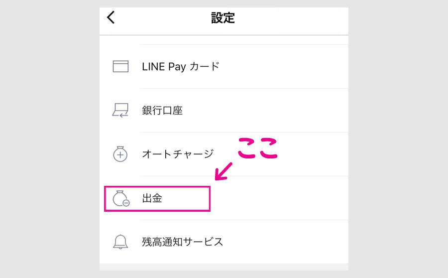 ステップ3:LINE Pay残高から銀行口座に出金する