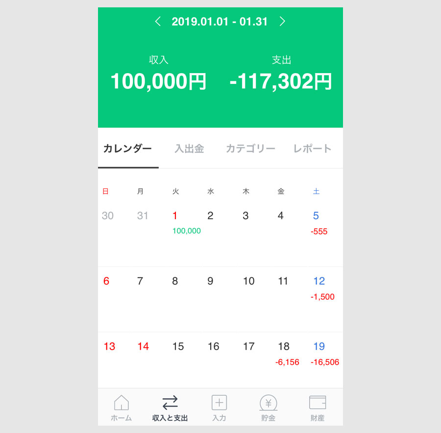 LINE家計簿のアプリ版の画面