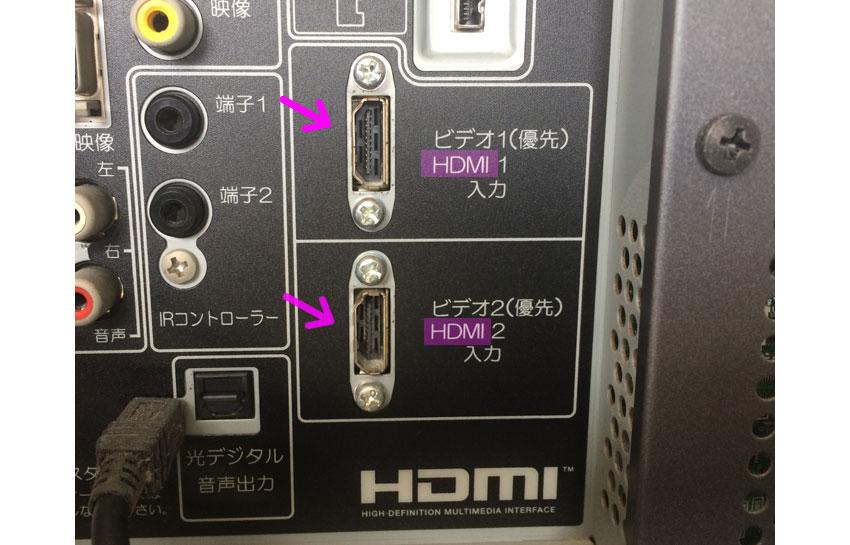 テレビにHDMI端子がついているかチェック