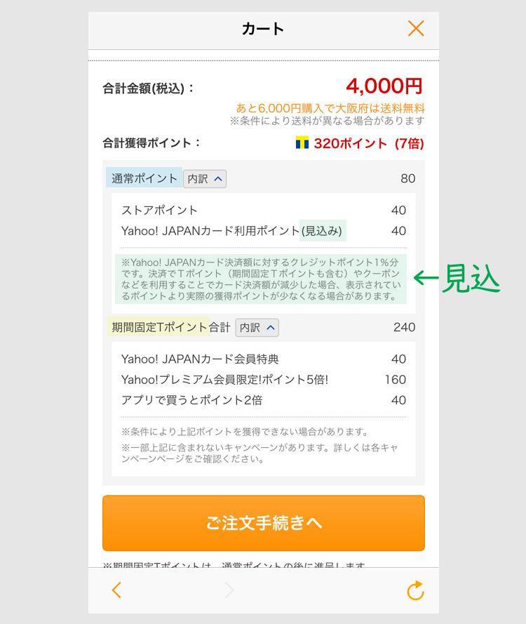 PayPayでヤフーショッピングを決済する方法1 通常日の獲得ポイント