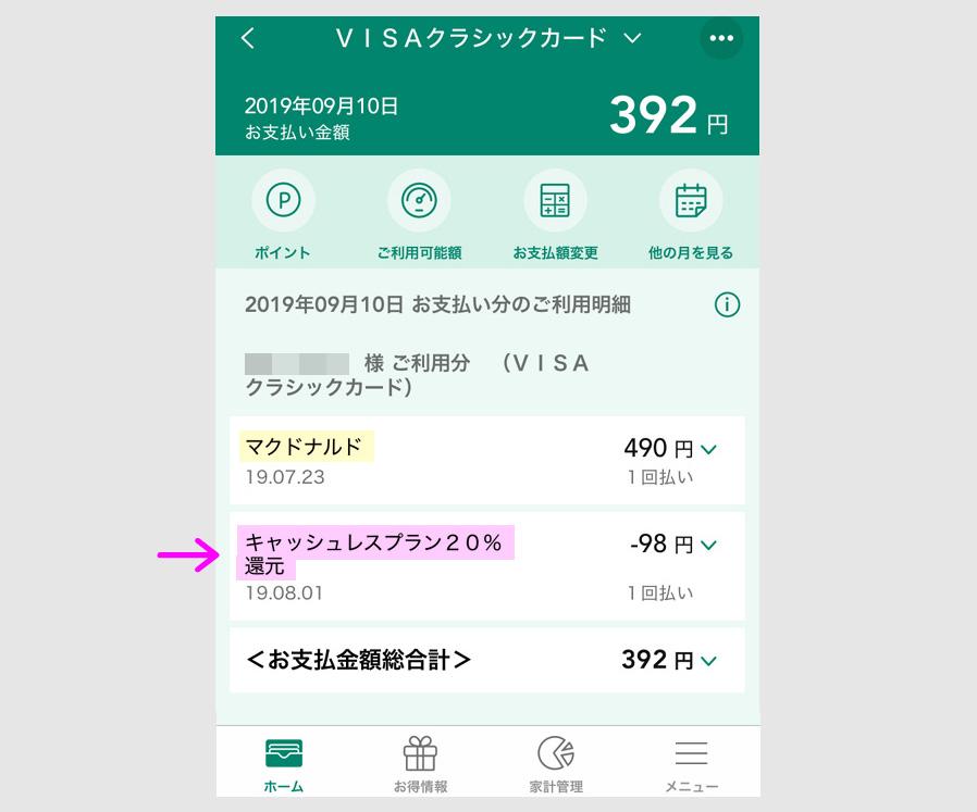 三井住友カード 20%キャッシュバックのポイント 事例