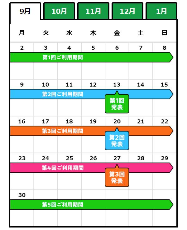 タダチャン 9月の発表スケジュール