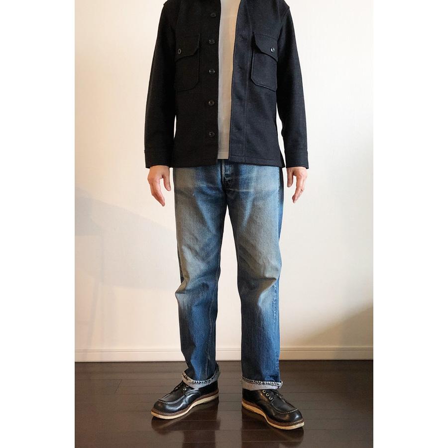 ユニクロユー フリースシャツジャケット クルーネックT長袖 コーデ1