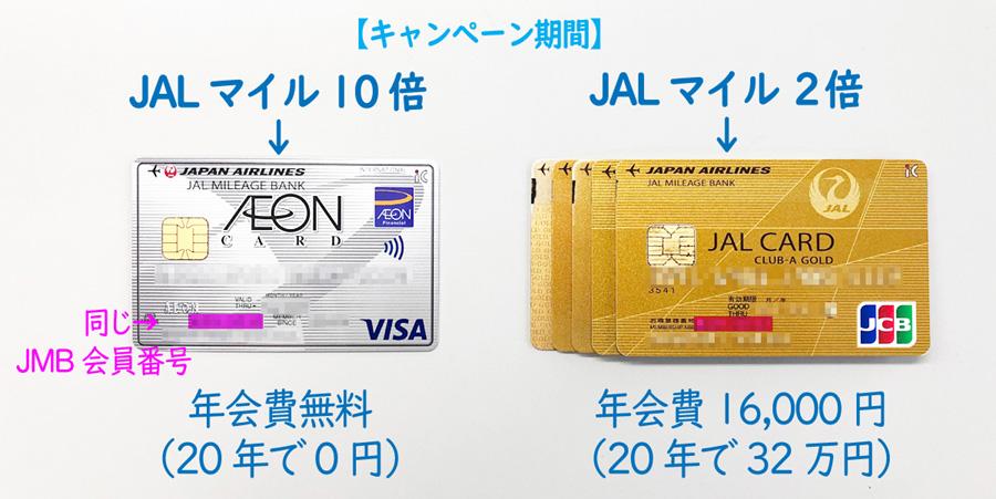キャンペーン時のイオンJMBカードとJALカードの比較