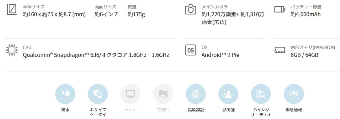 AQUOS sense3 plus(48800円)2
