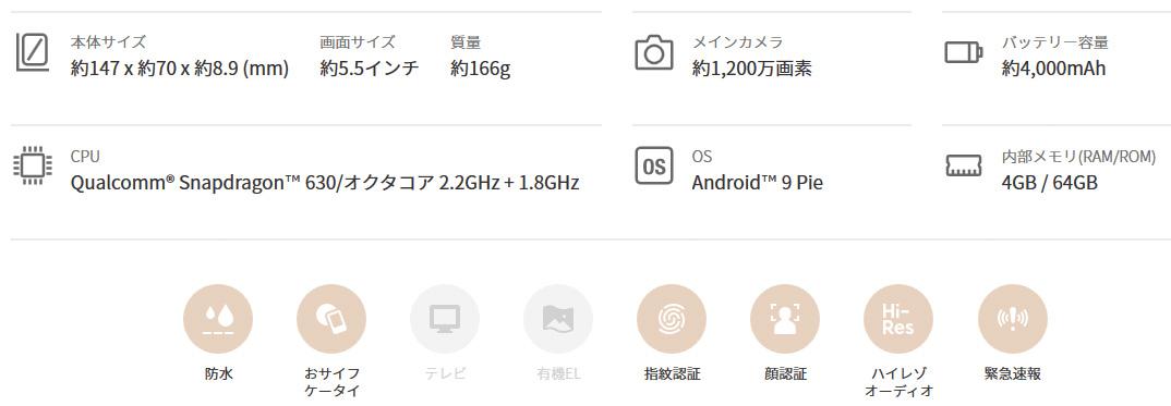 AQUOS sense3 lite(32800円)2