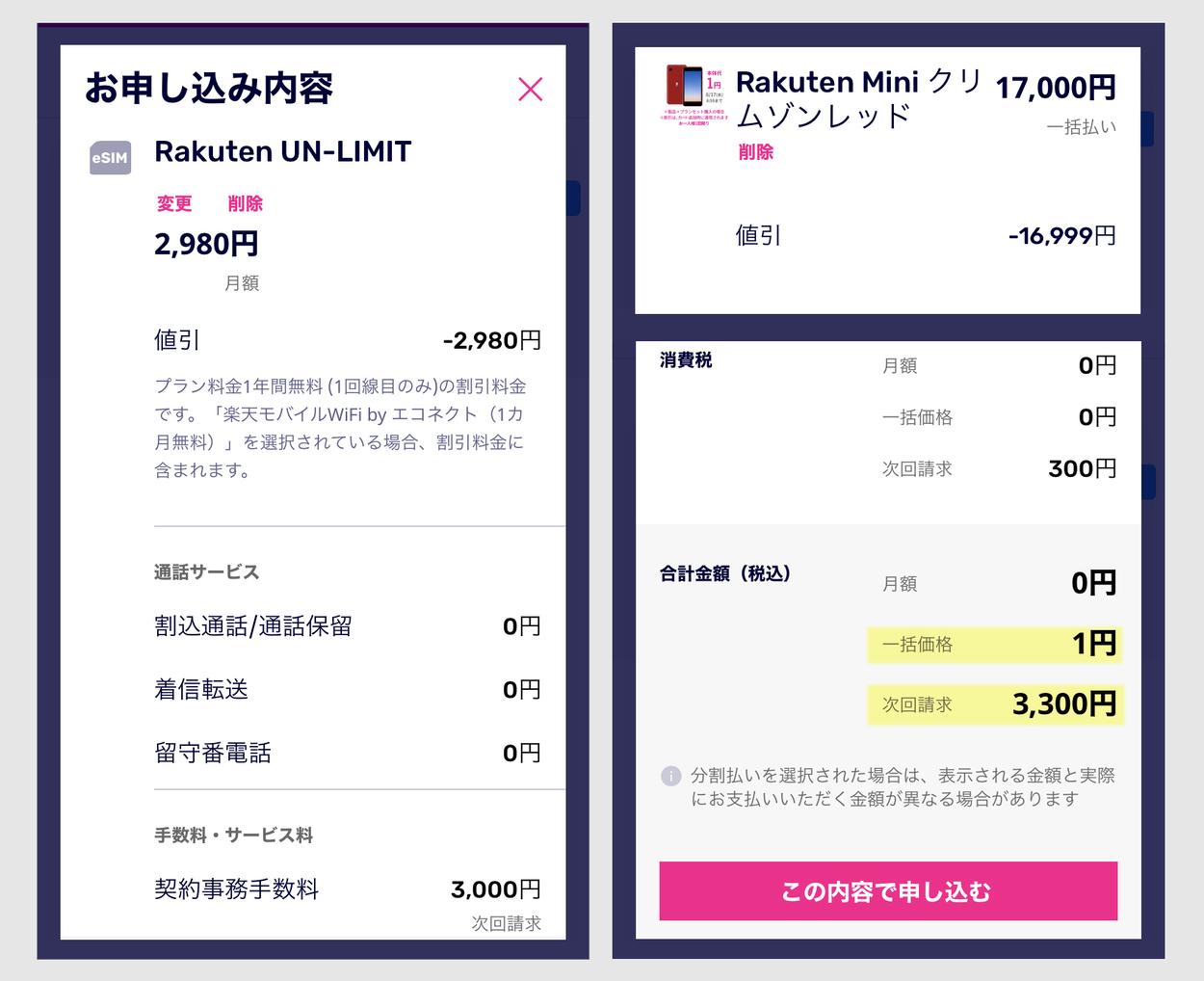 楽天ミニ 1円の申込方法2