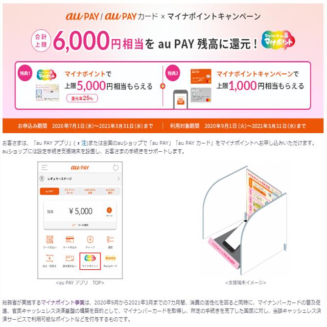 au PAY(+5%還元 / 上限+1000円分残高)