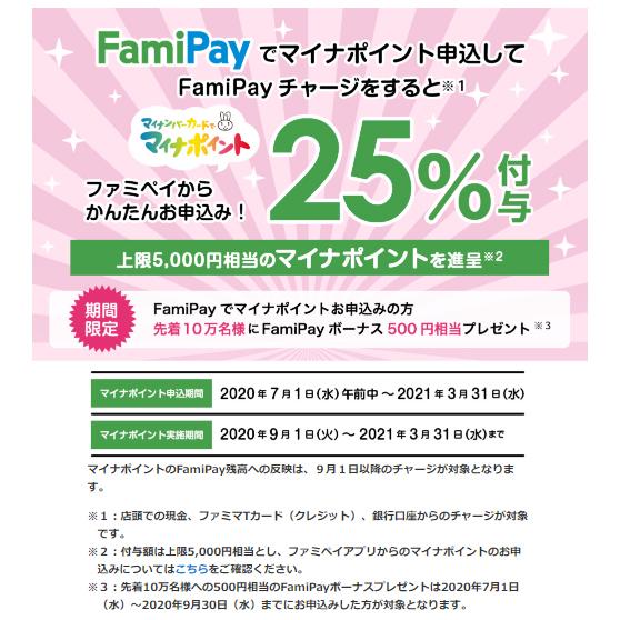 ファミペイ(20%還元 / 先着10万名+500円分残高)