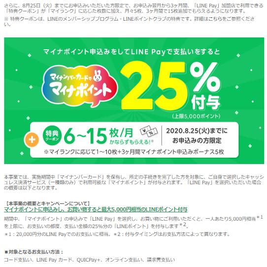 LINE Pay(100円or5%オフクーポン5枚×3ヶ月分)
