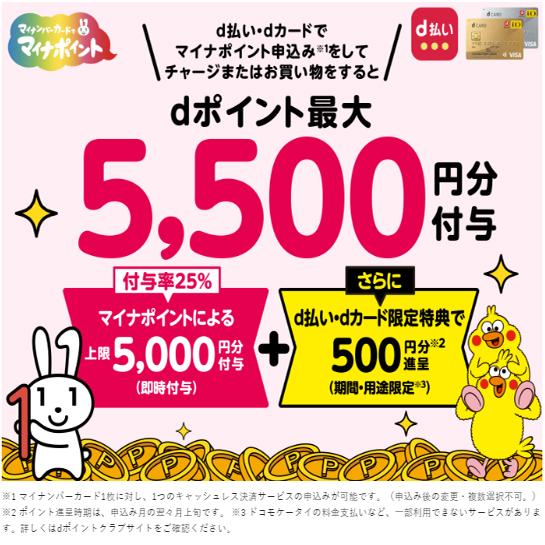 dカード・d払い(申込で最大500P)