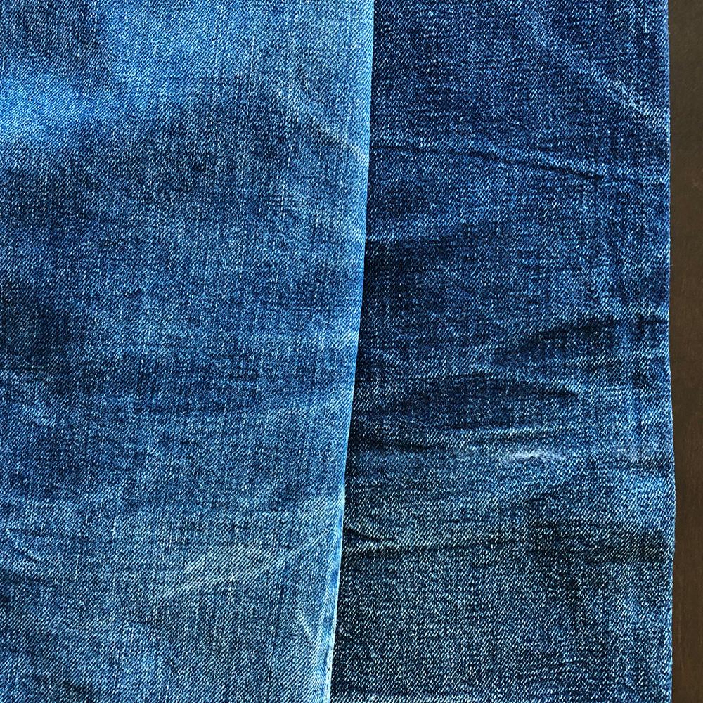 リーバイス501XXダブルエックスと旧ドゥニームXXタイプの色落ちの比較 膝裏