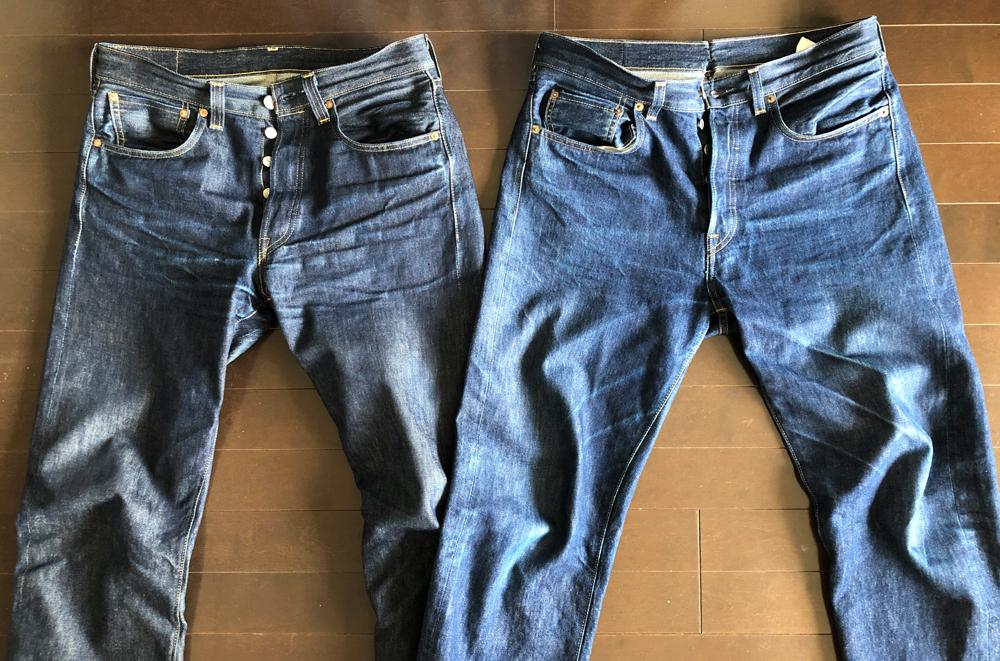 6ヶ月近く履いたリーバイス501 LVC1947モデル(左)と1966モデル(右)