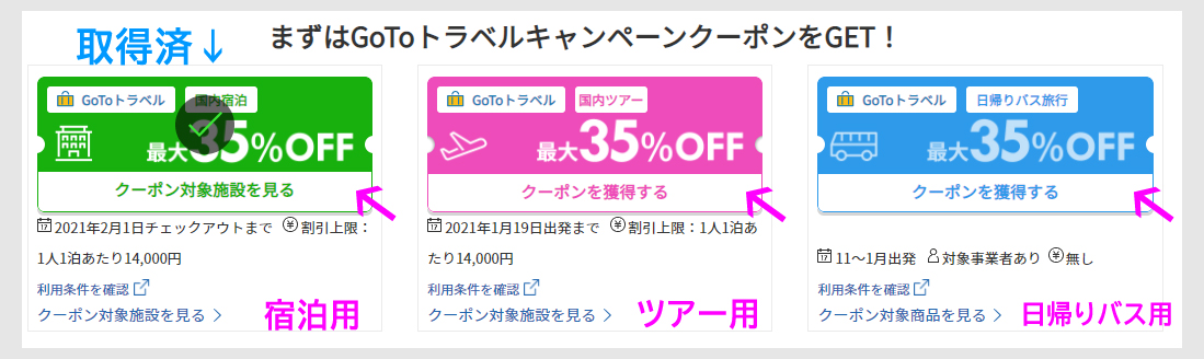 STEP1:最初にGo To35%オフクーポンを取得
