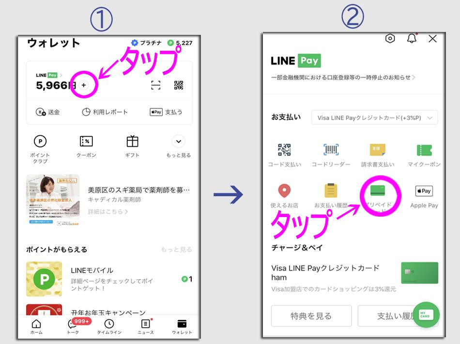 ステップ1:Visa LINE Payプリペイドカードの発行1