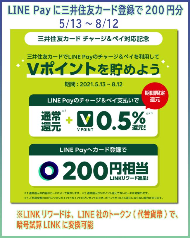 LINE Payに三井住友カード登録で200円分 (5/13~8/12)