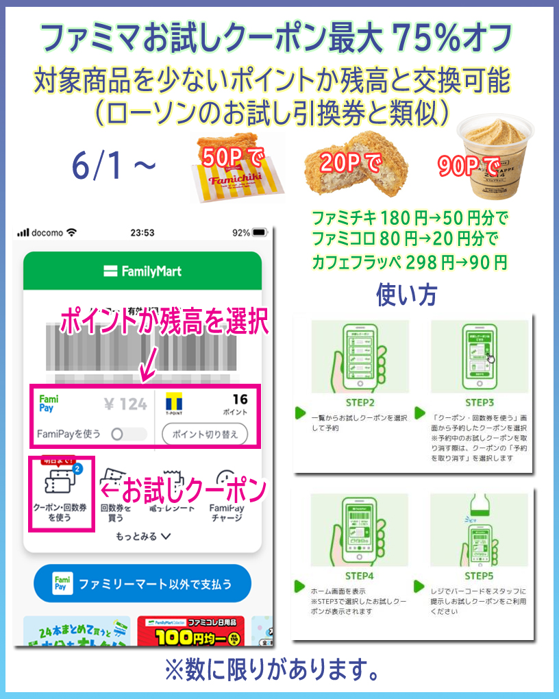 ファミマお試しクーポン最大75%オフ(6/1~)
