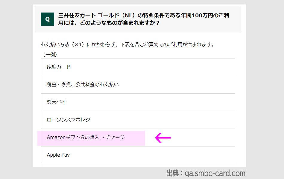 三井住友カードゴールドNLの100万円修行でAmazonギフト券は対象